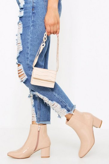 Nude Patent Block Heel Ankle Boot