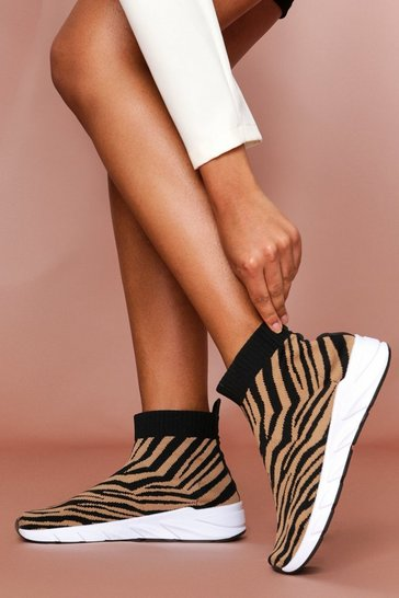 Brown Zebra Knitted Sock Trainer