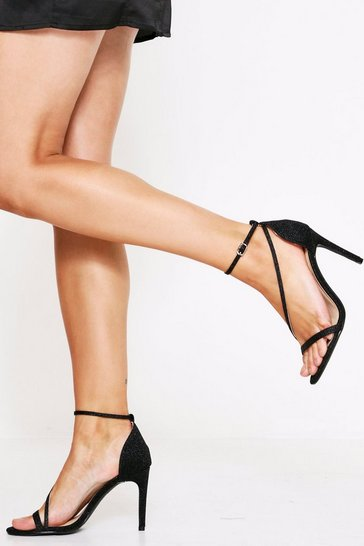 Black Sparkle Strappy Heel