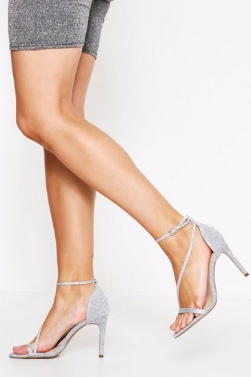 Silver Sparkle Strappy Heel