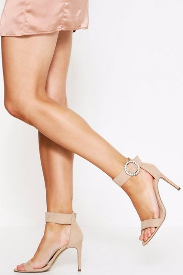 Womens Nude Dimante Buckle 2 Part Heel
