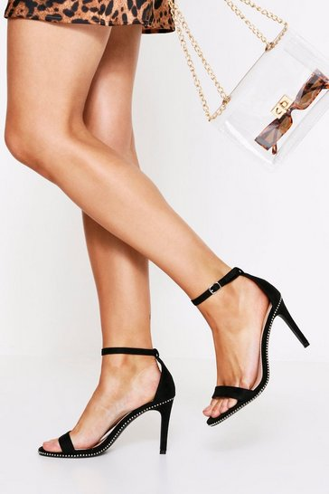 Black 2 Part Studded Detail Heel