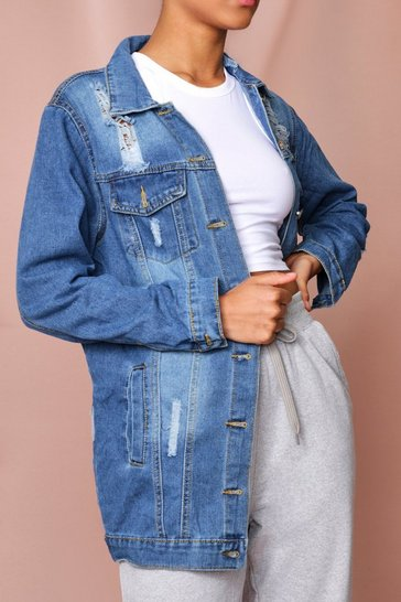 Blue Oversized Ripped Denim Jacket