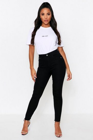 Mid wash Square Knee Ripped Skinny Jeans