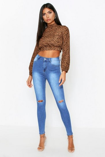 Womens Mid wash Ripped Boyfriend Jeans