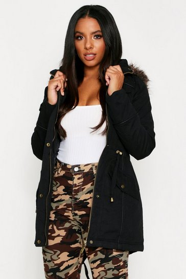 Womens Black Faux Fur Trim Hooded Parka