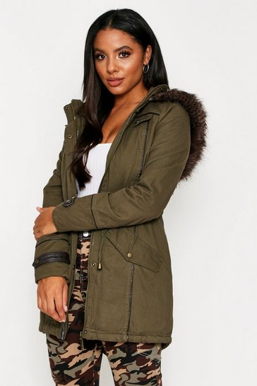 Womens Khaki Faux Fur Trim Hooded Parka