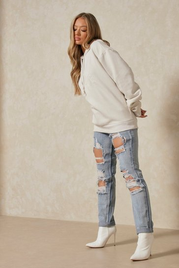 Womens Light wash Distressed Ripped Mom Jeans