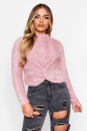 Womens Blush Fluffy Roll Neck Knot Jumper