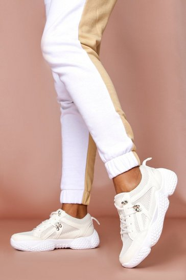 Womens White Net Chunky Trainer