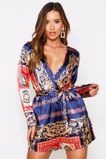 Blue Chain Print Playsuit