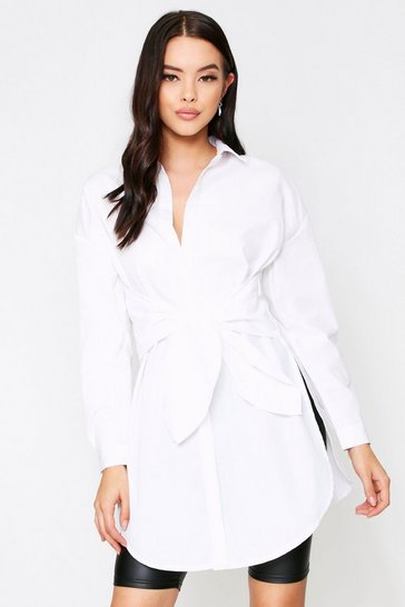 Womens White Tie Front Shirt