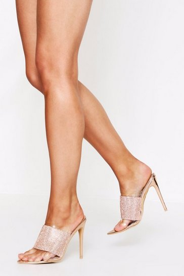 Rose gold Diamante heeled mules