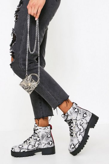 Snake Lace Up Ankle Boot
