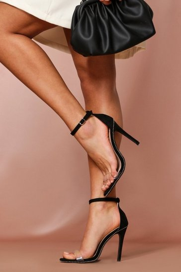 Black Ball Stud Clear Heels