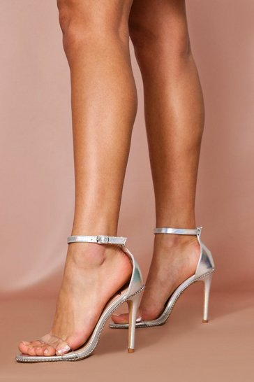 Womens Silver Ball Stud Clear Heels
