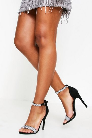 Womens Black Diamante Strap Heels