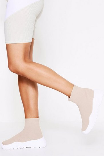Womens Beige Chunky Sole High Top Sock Trainer