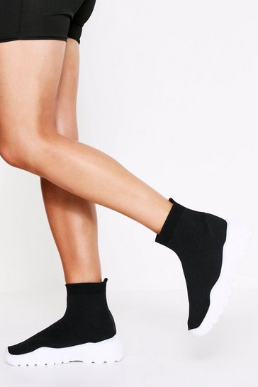 Womens Black Chunky Sole High Top Sock Trainer