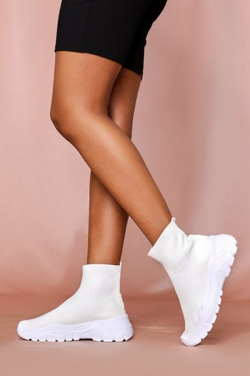 Womens White Chunky Sole High Top Sock Trainer