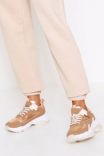 Womens Champagne Chunky Sole Contrast Trainers