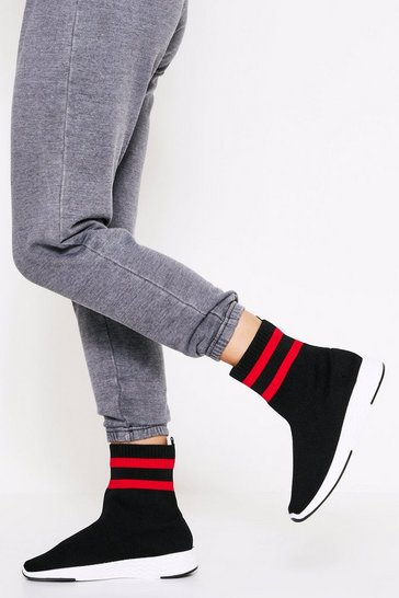 Womens Black Sports Stripe High Top Sock Trainers