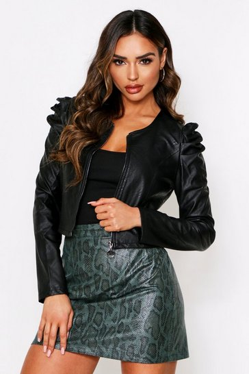Womens Black Pu Zip Jacket