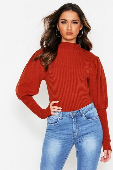 Rust Puff Sleeve Knit Sweater