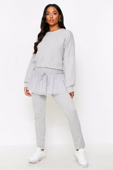 Womens Grey Organza Hem Lounge Set