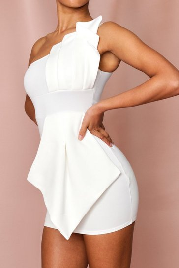 White One Shoulder Pleated Detail Mini Dress