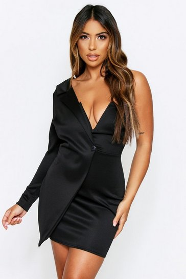 Womens Black One Shoulder V Plunge Mini Dress