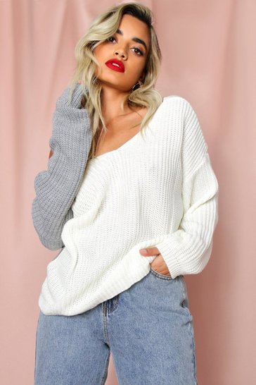 Cream Knot Back Knitted Jumper