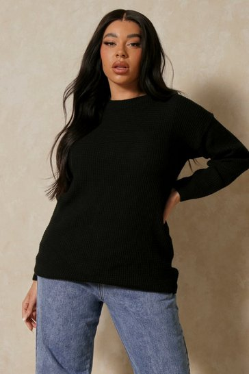 Black 32 Waffle Knit Crew Neck Sweater