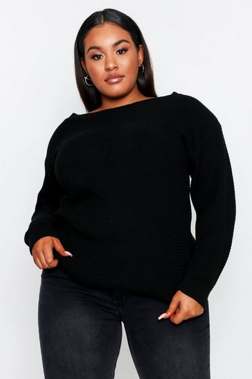 Black Slash Neck Waffle Knit Sweater Plus