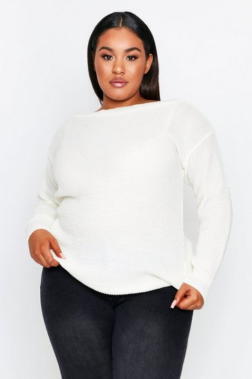 Cream Slash Neck Waffle Knit Sweater Plus