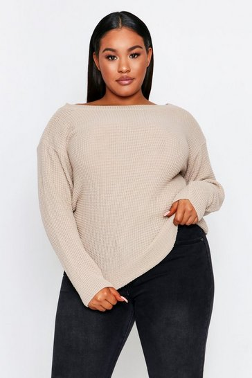 Oatmeal Slash Neck Waffle Knit Sweater Plus