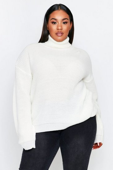 Cream Turtleneck Knitted Sweater Plus