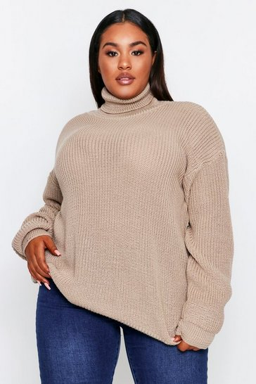 Oatmeal Roll Neck Knitted Jumper Plus