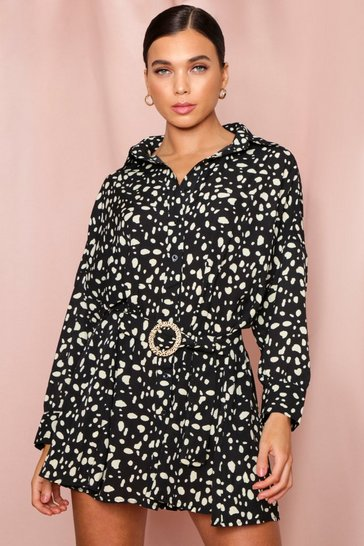 Black Leopard Print D-Ring Shirt Dress