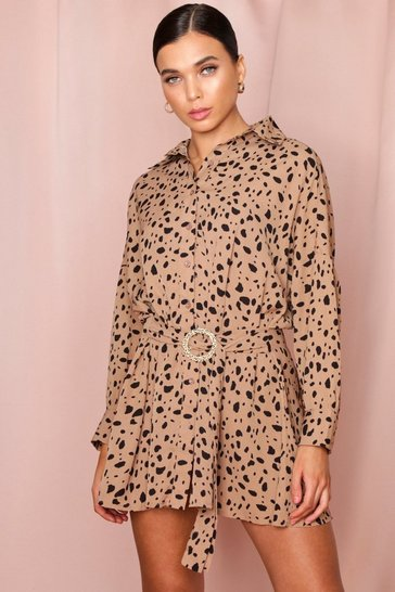 Stone Leopard Print D-Ring Shirt Dress