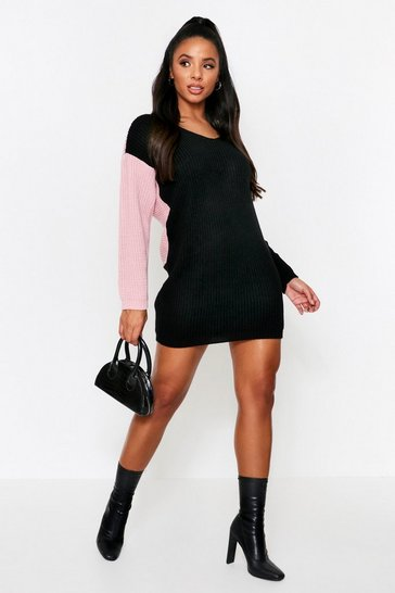 Black Knot Back Knitted Dress
