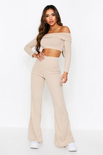 Stone Ribbed Knit Bardot + Wide Leg Coord