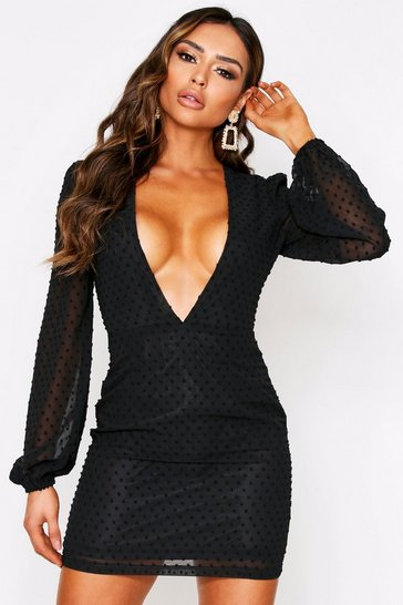 Black Polka Dot Dobby Mesh Plunge Dress