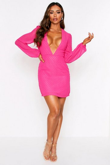 Pink Polka Dot Dobby Mesh Plunge Dress