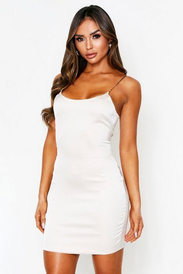 Champagne Chain Strap Satin Cami Dress
