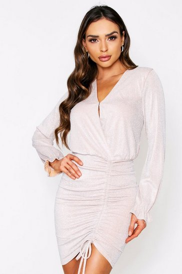 Beige Metallic Ruched Front Dress
