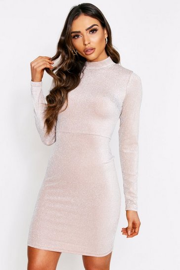 Beige High Neck Metallic Dress
