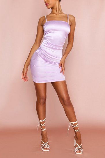 Lilac Ruched Side Satin Mini Dress