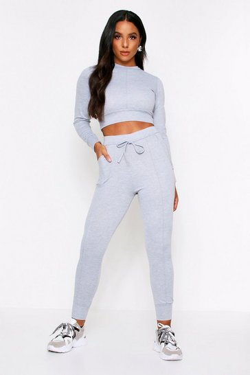 Womens Grey Seam Detail Jogger Loungeset