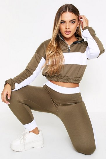 Khaki Sports Stripe Half Zip Tracksuit